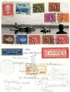 dutch new guinea, MERAUKE, Seaplane JZ-POC 1957 RPPC Registered Express Air Mail