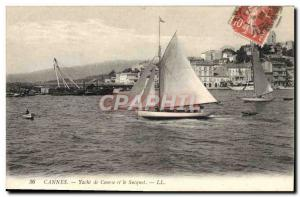 Old Postcard Cannes Boat Sailboat racing yacht and Sucquet