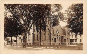 G24/ Cresco Iowa Real Photo RPPC Postcard c1910 M.E. Church Building