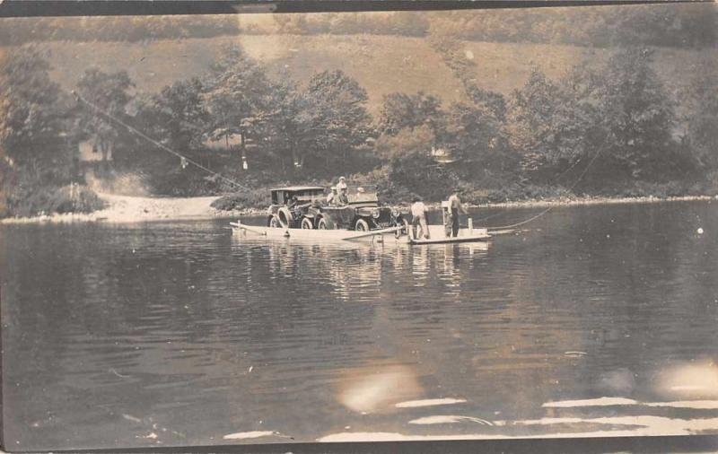 Ferry Crossing River Cars Automobile Real Photo Vintage Postcard JA4741129
