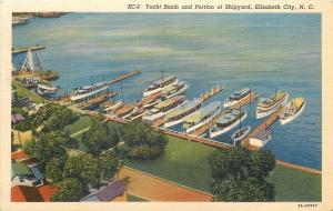 Elizabeth City North Carolina~Yacht Basin And Portion Of Shipyard~1950s Linen
