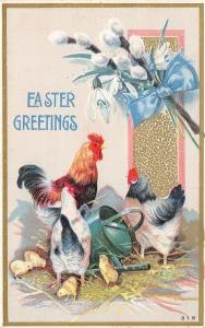 Easter~Rooster & Hens~Chicks by Watering Can~Pussy Willows Snowdrop Lilies~Emb