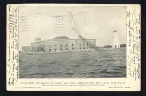 New Bedford, Massachusetts/MA/Mass Postcard, Clark's Point Fort, Lighthouse