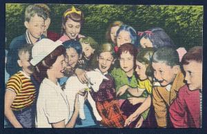 Children Petting Animals Belle Isle Zoo unused c1940's
