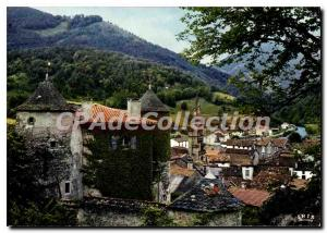 Old Postcard In Ariege Seix General view the castle