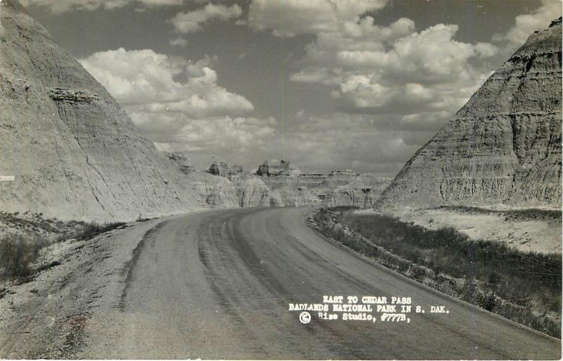 Badlands National Park SD~Real Photo~Highway East to Cedar Pass~1950s~RPPC