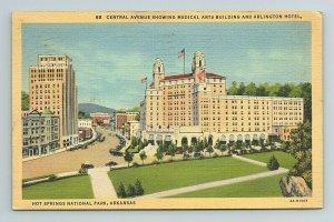 Central Ave, Medical Arts, Arlington Hotel, Hot Springs Park, Arkansas Postcard