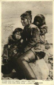 denmark, GREENLAND GRØNLAND, Cape York, Inuit Woman and Children (1931) Postcard
