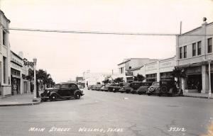 Weslaco Texas~Main Street~Andersen Hardware~Asgrow Seeds~Cafe~1930s Cars~RPPC