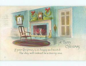 Pre-Linen CHRISTMAS WREATHS HUNG ABOVE FIREPLACE k1838