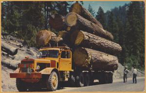 1950's Mack Logging Truck with load of huge logs - Washington - 1955
