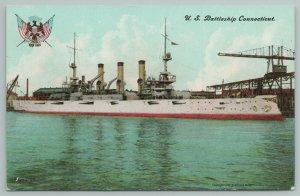 US Navy Military Ship~Battleship Connecticut~Eagle Flag Seal~IPCC E Muller~c1908