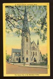 Lawrence, Massachusetts/MA Postcard, St Mary's Church, Merrimac Valley