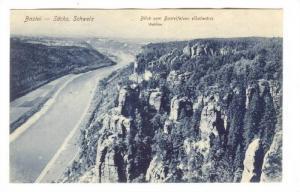 Bastei, Sachs. Schweiz, Blick vom Basteifelsen elbabwarts, Wehlen, Saxony, Ge...
