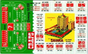 LAS VEGAS, NV Nevada SAHARA HOTEL & Casino  CRAPS Layout  c1950s    Postcard