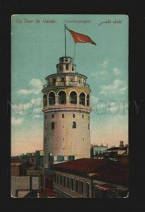 077384 TURKEY CONSTANTINOPLE Galata tour w/ flag Vintage PC