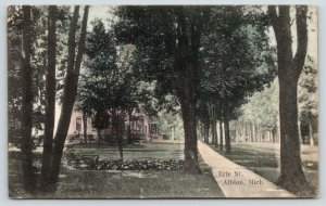 Albion Michigan~Erie Street Homes~One Block from Me Erin D~1908 SL&Co Postcard