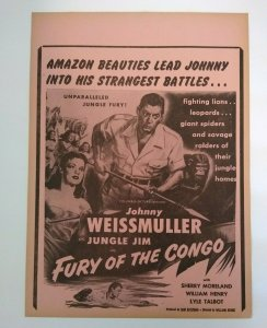 Jungle Jim Fury Of The Congo Johnny Weissmuller Movie Poster 1951 Vintage Amazon