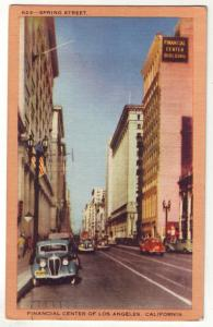 P795 1959 linen card old cars spring street view los angeles calif