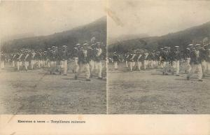 Stereographic stereo view torpedo marine military exercise on the ground