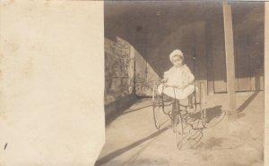 RP: LA PORTE , Texas , 1900-10s ; Girl on early Tri-cycle