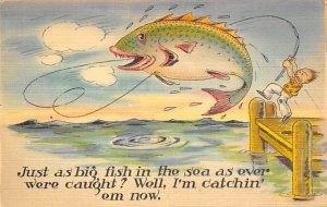 Man in Boat with a Huge Fish Jumping Comic Fishing Unused