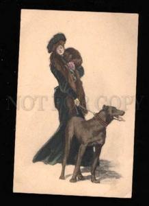 017366 Fashionable Lady & GREAT DANE by UNDERWOOD old VIENNE