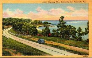Florida Pensacola Scenic Highway Along Pensacola Bay Curteich