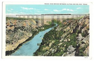 Pecos High Bridge Between Alpine and Del Rio, Texas; Train; unused American Art