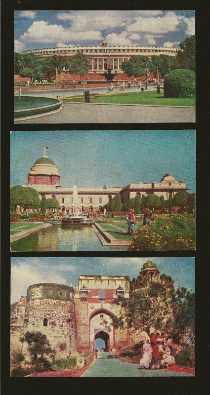 Lot of 3 1960's New Delhi India Buildings Color Postcards Unposted