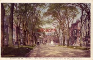 OLD STATE ST. LONGFELLOW MONUMENT IN THE DISTANCE, PORTLAND, ME 1915