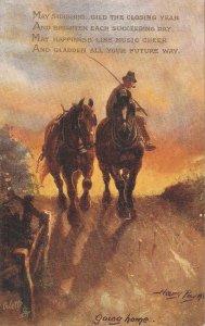 Harry Payne.Norfolk Lanes. Going home. Horses  Tuck Oilette PC # 9605