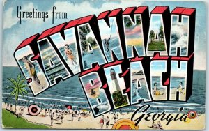SAVANNAH BEACH Georgia Large Letter Postcard Multi-View KROPP Linen c1940s