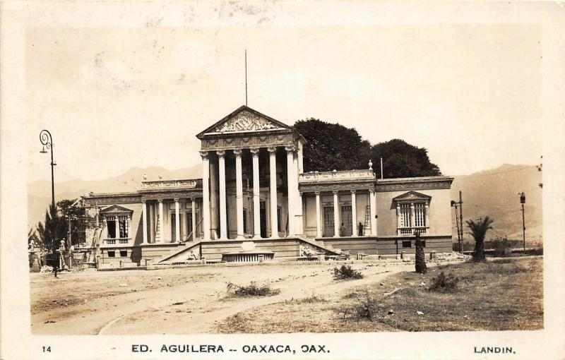 F61/ Foreign RPPC Postcard Mexico 1934 Oaxaca Ed. Aquilera Building