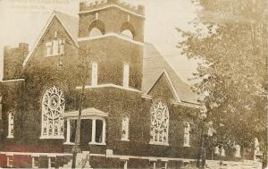 Nelsonville Ohio~New First Christian Church~RPPC 1909 To Troutman of Bucyrus
