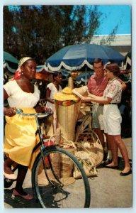 BAHAMA ISLANDS ~ Festive Scene NATIVE STRAW MARKET 1966 Postcard