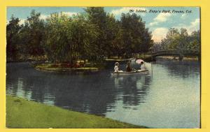 Fresno, Cal., The Island, Zapp's Park, Man rowing 2 ladies around lake-1910