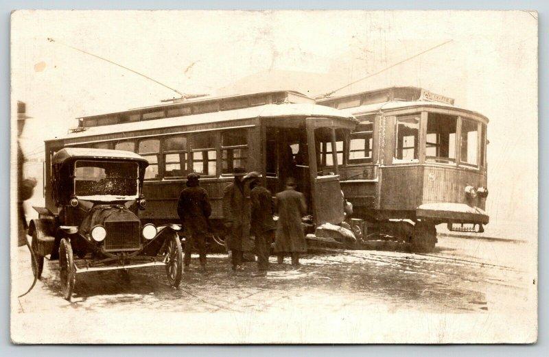 Trinidad CO~Animas @ Main Street Trolley Wreck~Cokedale Interurban~Car~1910 RPPC