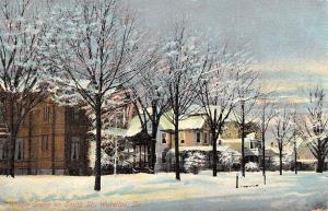 Waterloo Iowa~Snow-Tipped Tree~Wind Drifts~Homes on South St~Postcard 1910
