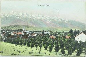 Bird Eye View, Highland, Cal. Hand Tinted Vintage Postcard P99