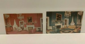 Lot 2 The Red Room & Green Room in the White House, Vintage Photo Postcards