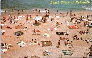 Rehoboth Beach Delaware Postcard 1972 Beach Aerial View Birds Eye Bathers ND
