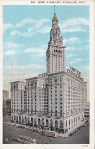 Ohio Cleveland Trolley At Hotel Cleveland 1932 Curteich