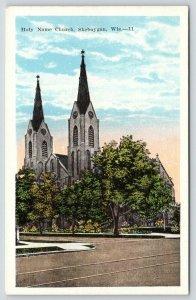 Sheboygan Wisconsin~Holy Name Roman Catholic Church~Tall & Taller Steeples 1920s