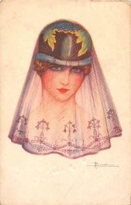 Vintage Fashion, Lady Woman Veil, Illustrator A. Busi Artist Signed Postcard