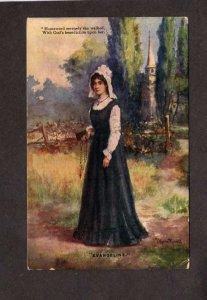 Evangeline God  Rosary Artotype Postcard Canada Stamp #97 Stamp Carte Postale