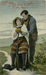 Artist impression C-1910 Cowboy Western Romance Rifle Postcard 21-9432
