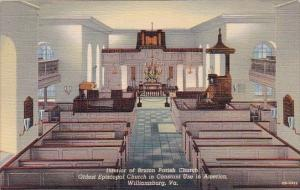 Virginia Williamsburg Interior Of Bruton Parish Church Oldest Episcopal Churc...