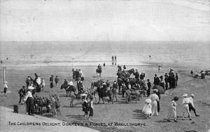 The Children's Delight Donkeys Ponies at Mablethorpe Postcard