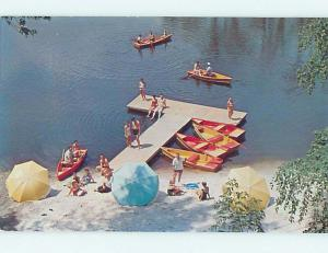 Pre-1980 COLORFUL ROWBOATS AT FERNWOOD LAKE LODGE Bushkill Pennsylvania PA J7814